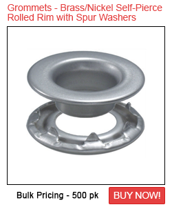 Grommets - Brass/Nickel Self-Piercing Rolled Rim With Spur Washers Sale